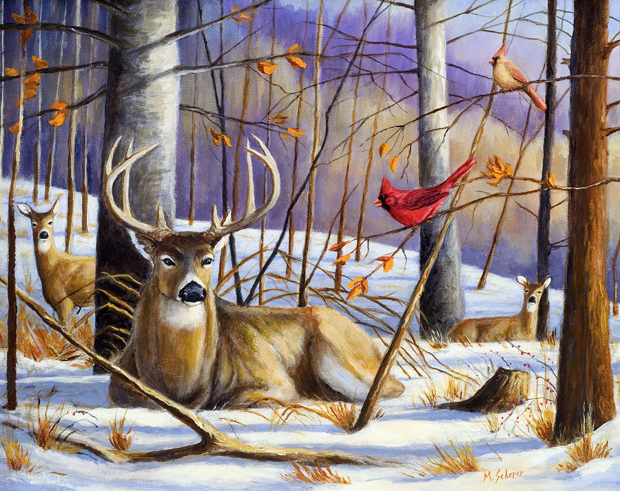 Whitetail Deer Painting - Winter Song by Michael Scherer