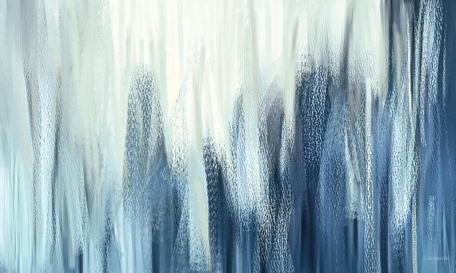 Winter Sorrows - Blue And White Abstract Painting by ...