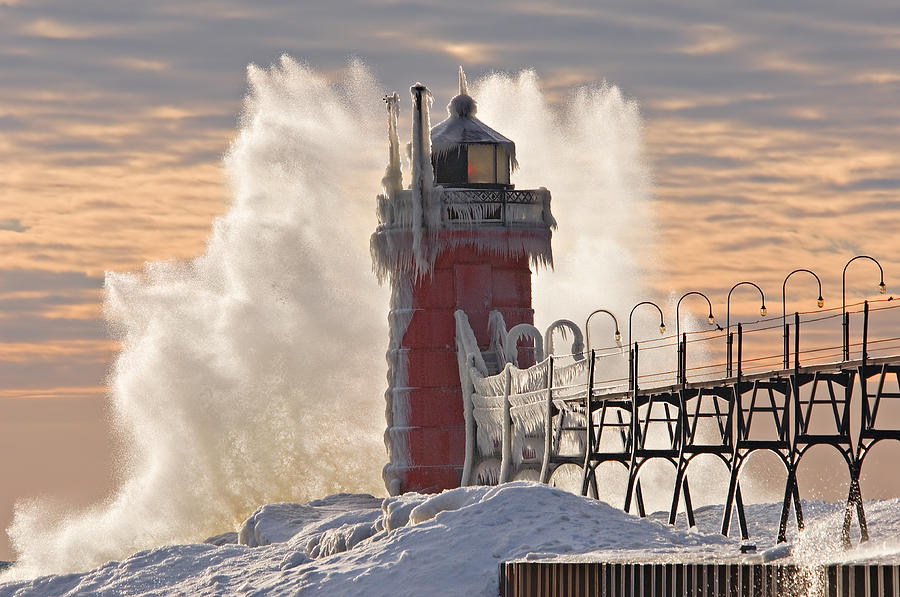 Catwalk Photograph - Winter South Haven Lighthouse by Dean Pennala