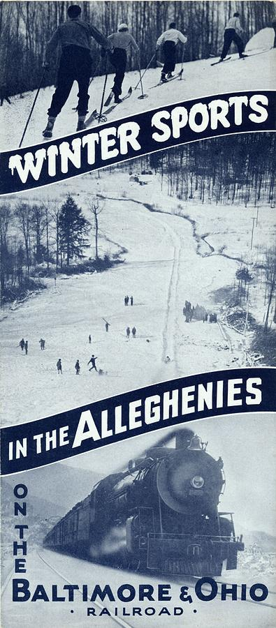 Trains Photograph - Winter Sports in the Alleghenies by Baltimore and Ohio Railroad