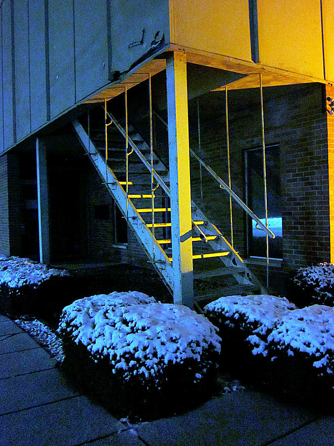 Night Scenes Photograph - Winter Stairs by Guy Ricketts