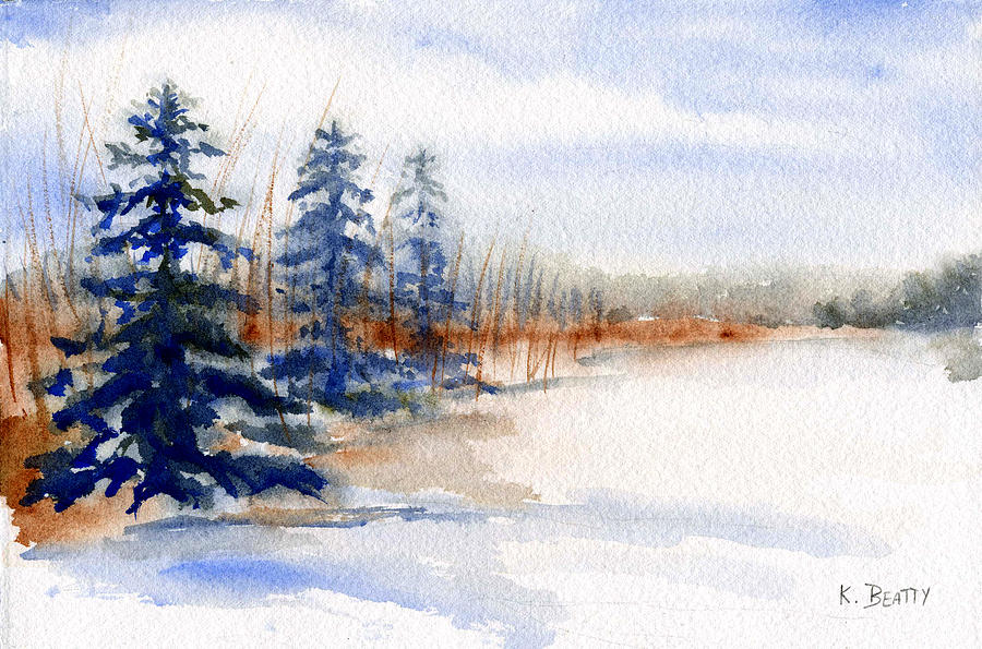Winter Painting - Winter Storm Watercolor Landscape by Karla Beatty