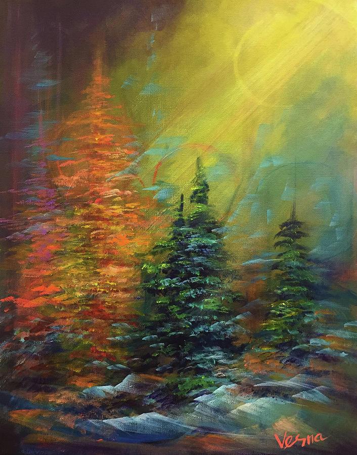 Winter Painting - Visit by Vesna Delevska
