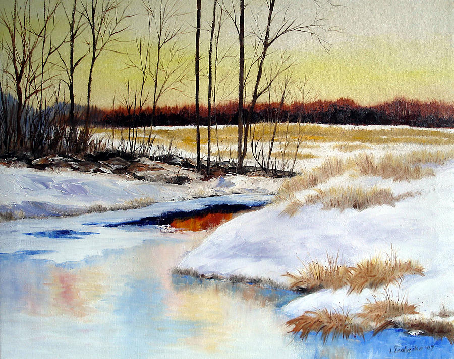 Winter Stream 1107 Painting by Laura Tasheiko