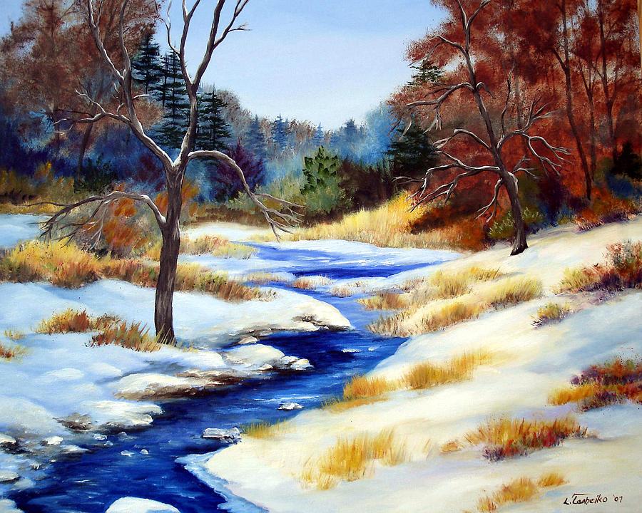Winter Stream Painting by Laura Tasheiko
