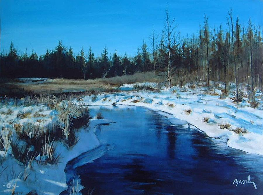 Blue Painting - Winter Stream by William  Brody