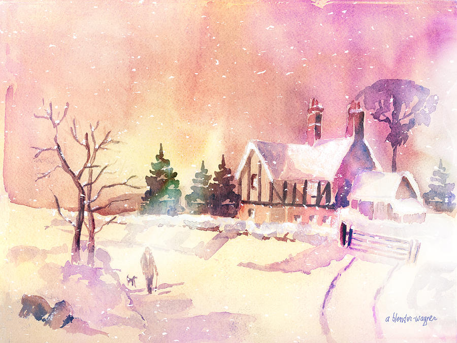Landscape Painting - Winter Stroll by Arline Wagner