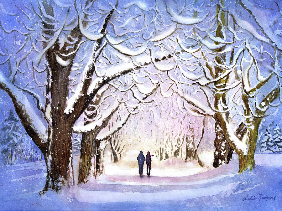 Winter Painting - Winter Stroll by Leslie Redhead