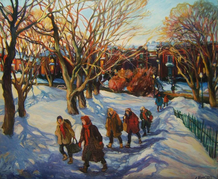 Montreal Streetscape Painting - Winter Stroll Westmount Park by Ingrid Harrison