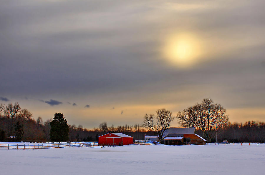 Barn Photograph - Winter Sun by Evelina Kremsdorf
