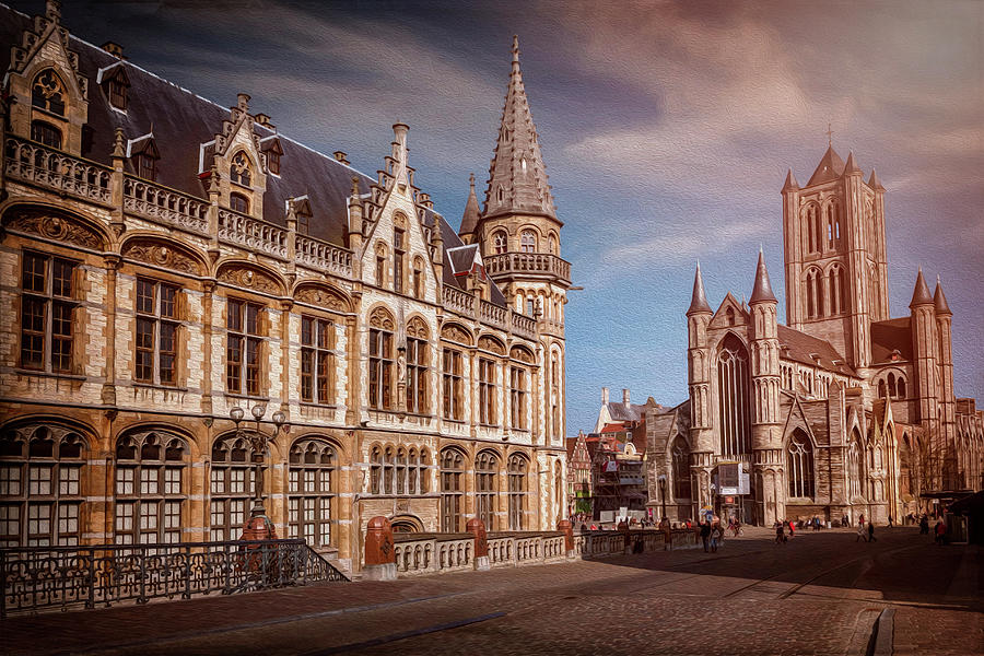 Ghent Photograph - Winter Sun In Ghent Belgium  by Carol Japp