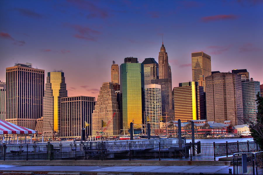 City Photograph - Winter Sunrise Over Downtown Manhattan by Val Black Russian Tourchin
