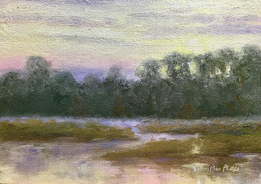 Creek Painting - Winter Sunrise by Rosie Phillips