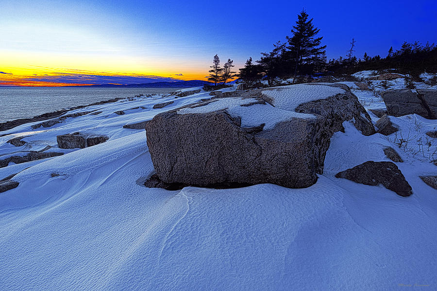 Winter Sunset at Schoodic Point Maine by Marty Saccone