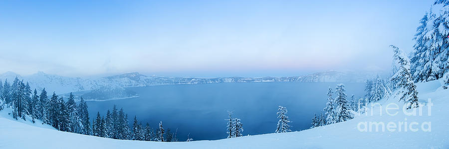 Winter Sunset Photograph - Winter Sunset, Crater Lake by Daryl L Hunter