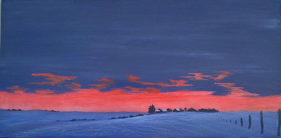 Winter Painting - Winter Sunset by Denise   Hoff
