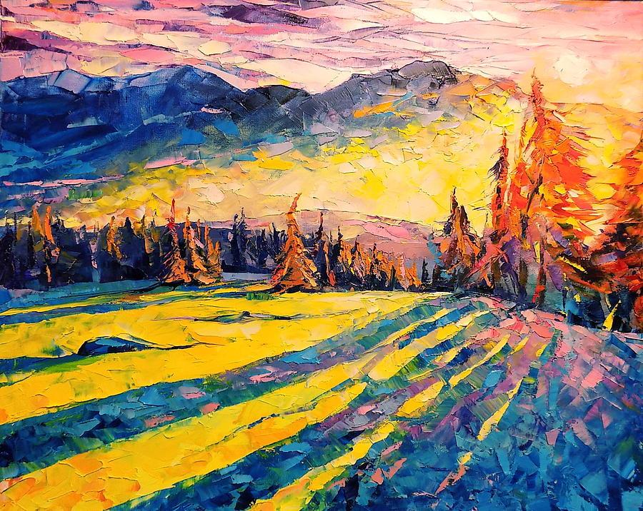 Landscape Painting - Winter Sunset by Keren Gorzhaltsan