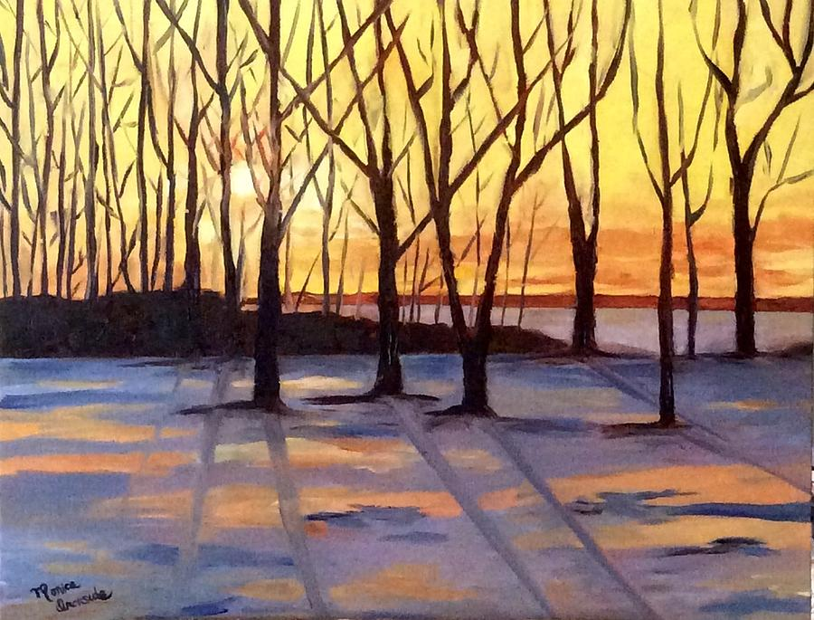 Landscape Painting - Winter Sunset by Monica Ironside