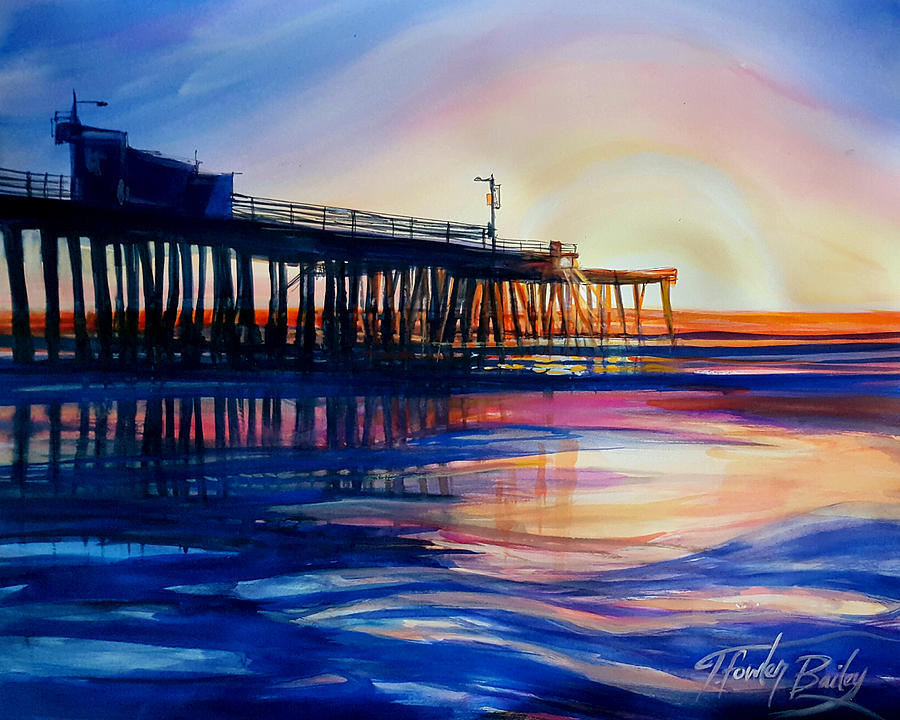 Pismo Beach Painting - Winter Sunset on Pismo  Pier by Therese Fowler-Bailey