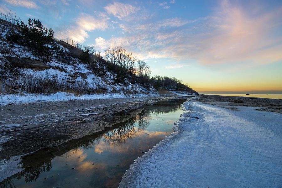 Winter Sunset Reflection Photograph