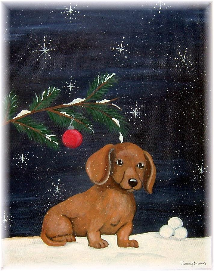 Dachshund Painting - Winter by Tammy Brown