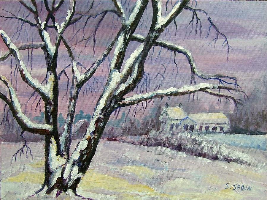 Winter Painting - Winter Tree by Saga Sabin