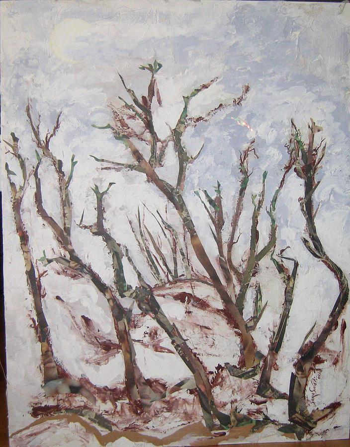 Trees Painting - Winter Trees by Helene  Champaloux-Saraswati