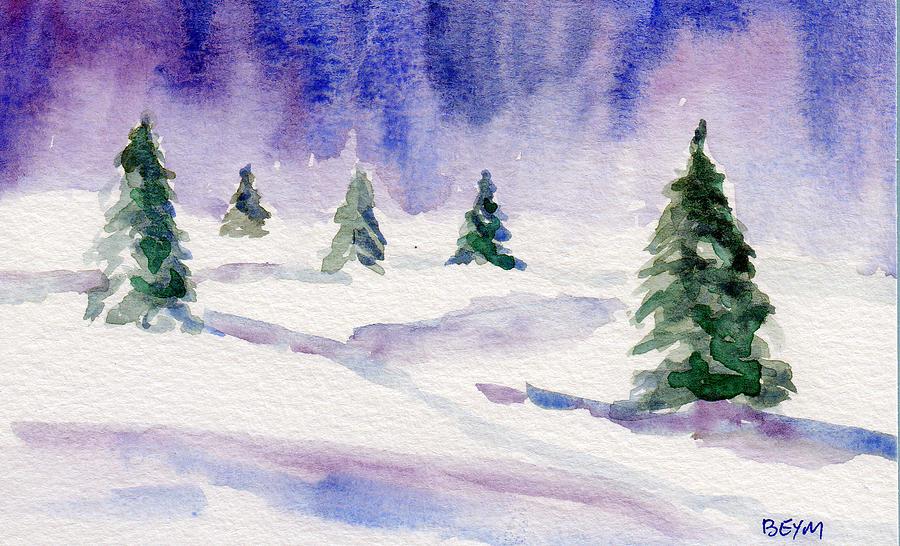 Winter trees in green by Clara Sue Beym