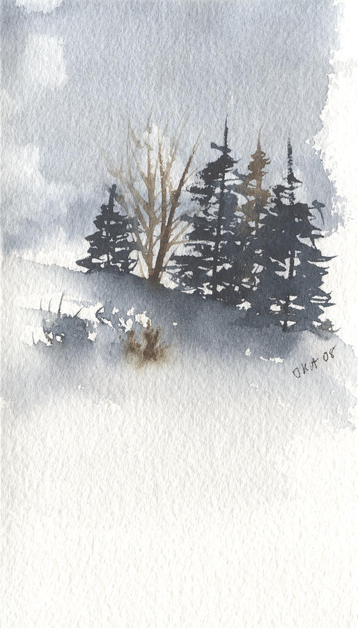 Evergreen Trees Painting - Winter Trees by Jan Anderson