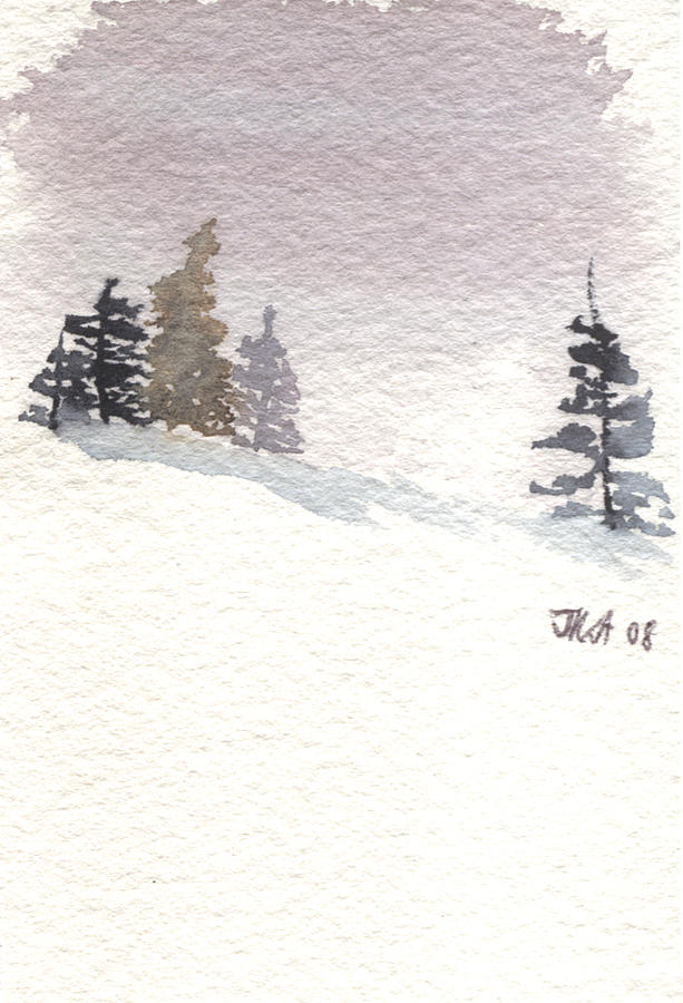 Evergreen Trees Painting - Winter Trees With Purple Sky by Jan Anderson