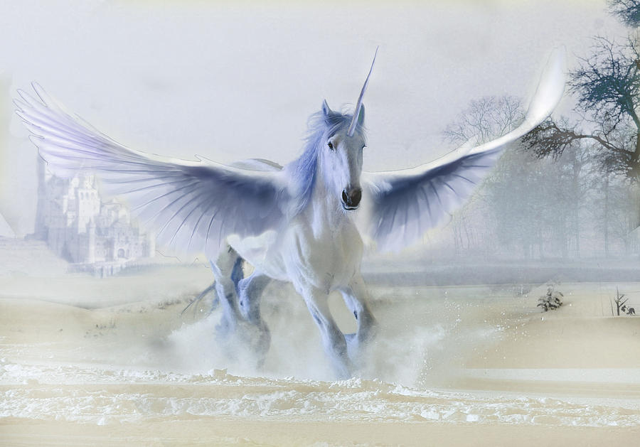 Unicorn Digital Art - Winter Unicorn by Al G Smith