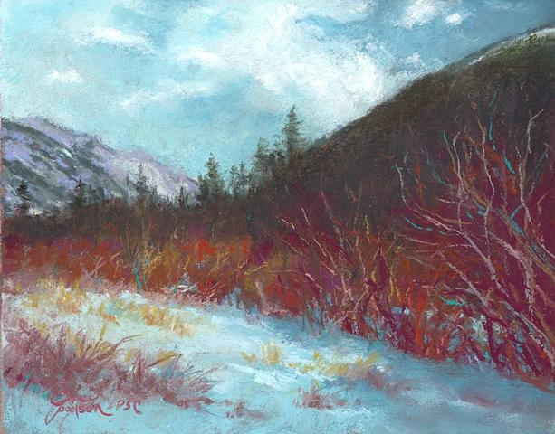 Landscape Painting - Winter View In Rocky Mountain National Park by Grace Goodson