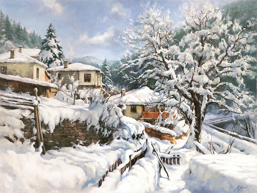 Winter Village Painting By Yanko Yanev