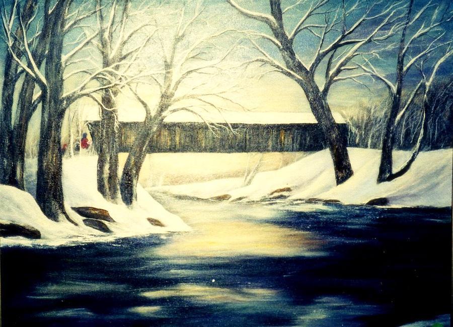 Bridge Painting - Winter Walk At Bennetts Mill Bridge by Gail Kirtz