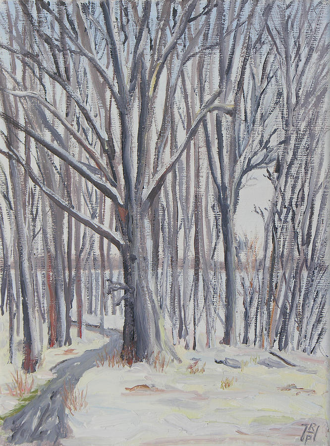 Winter Painting - Winter Walk by Robert P Hedden
