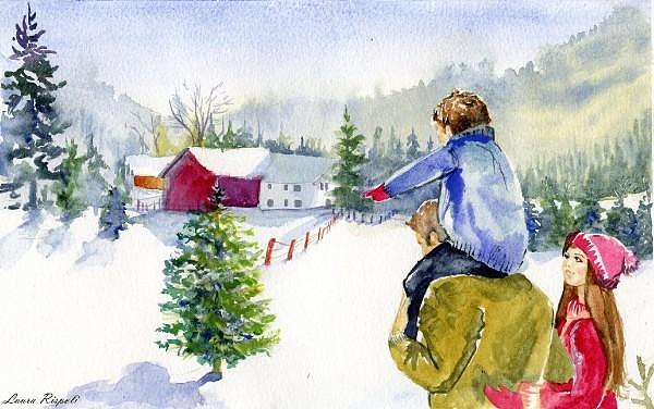 Christmas Painting - Winter Warmth by Laura Rispoli