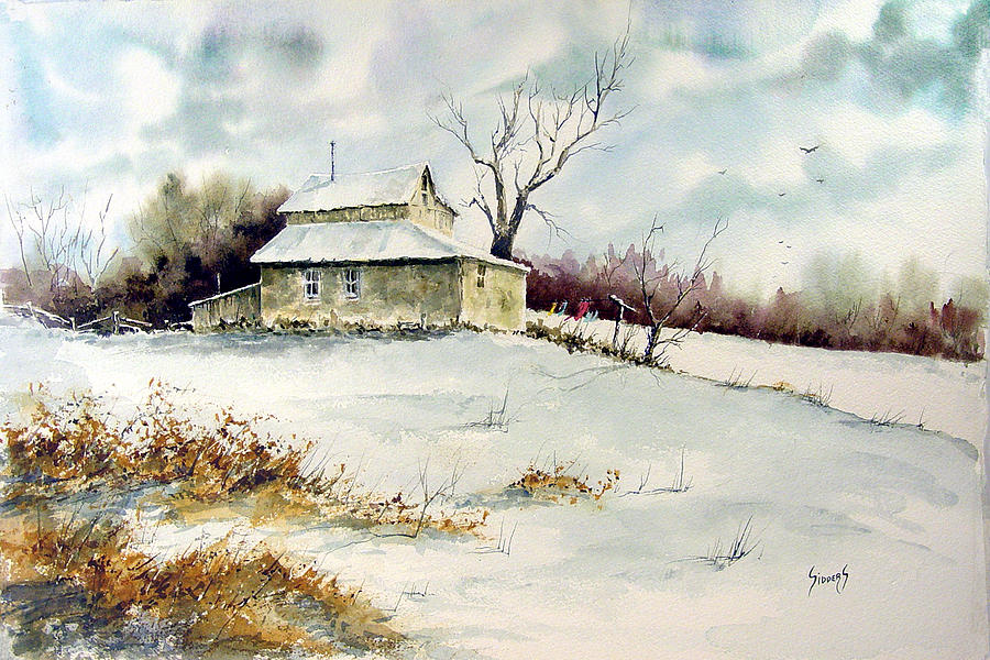 Snow Painting - Winter Washday by Sam Sidders