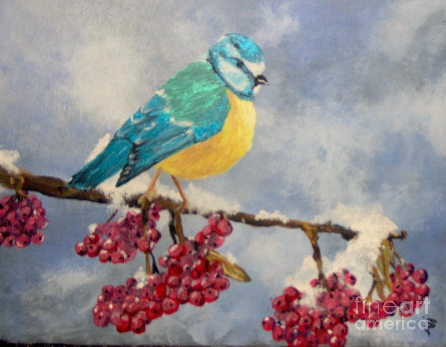 Bird Painting - Winter Watch by Saundra Johnson