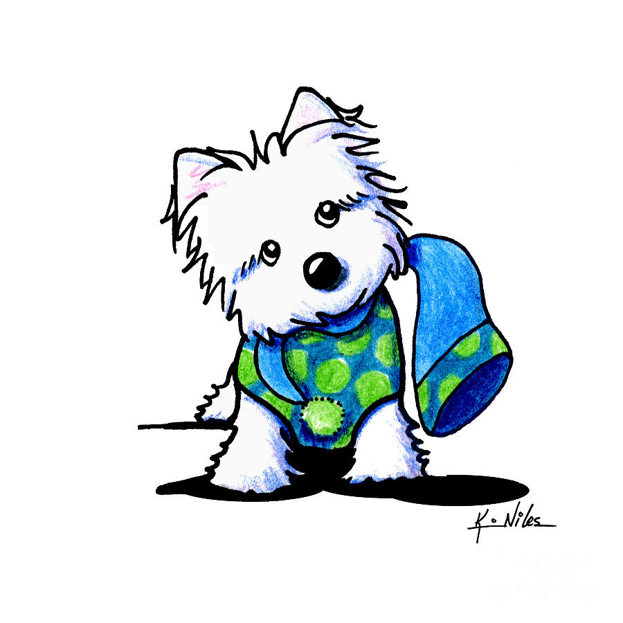 Westie Drawing - Winter Westie With Lime by Kim Niles