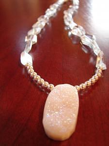 Blue Topaz Jewelry - Winter White Druzy Necklace by MIchelle LaCoille