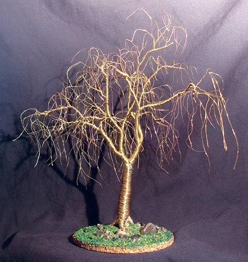 Sculpture Mixed Media - Winter Willow Wire Tree Sculpture by Sal Villano