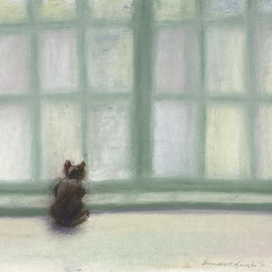 Cat Pastel - Winter Window by Bernadette Kazmarski