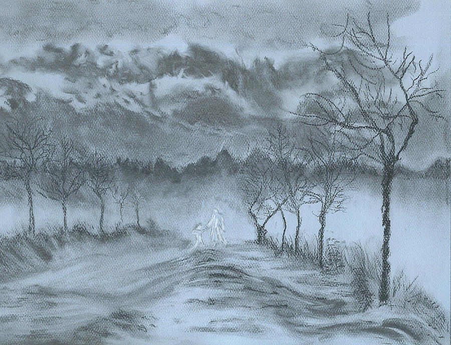 Charcoal Drawing - Winter with My Lover by Laura Gabel