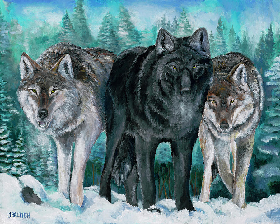 Wolves Painting - Winter Wolves by Joe Baltich