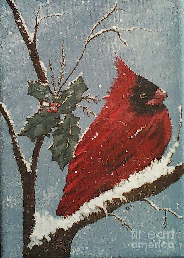 Cardinal Painting - Winter Wonderland  by Ginny Youngblood