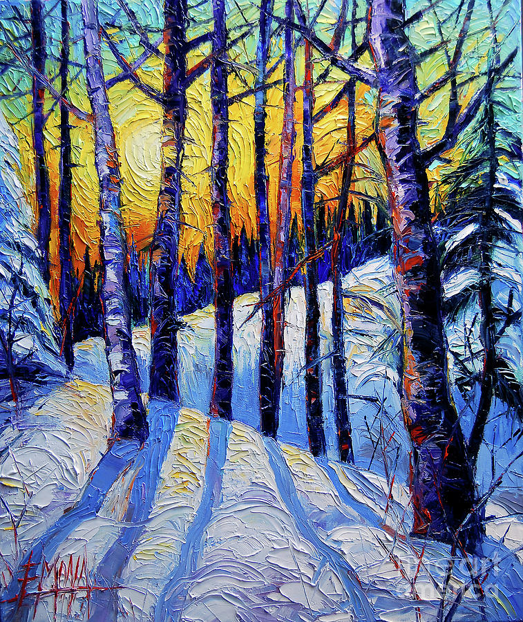 Sun Painting - Winter Woodland Sunset Modern Impressionism Palette Knife Oil Painting by Mona Edulesco