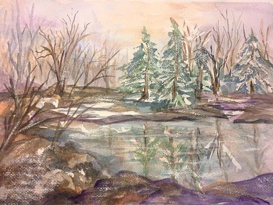 Winter Woods 2 Frozen Pond Painting By Ellen Levinson