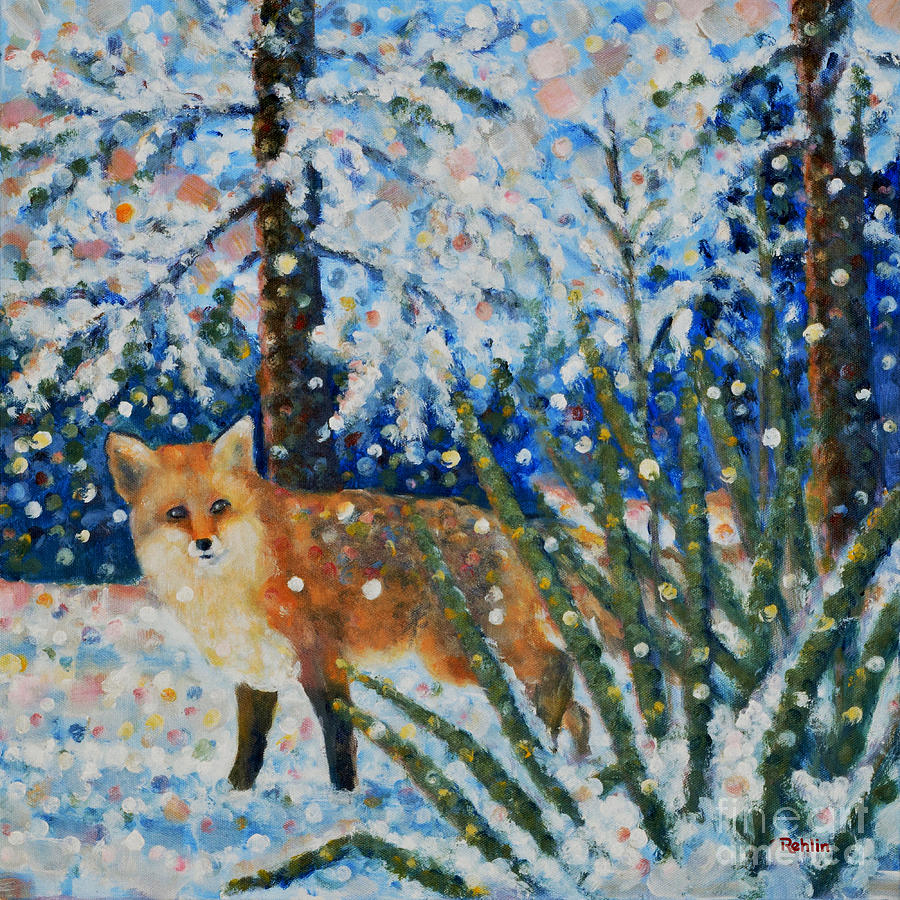 Red Fox Painting - Winter Yucca / Red Fox by Jim Rehlin