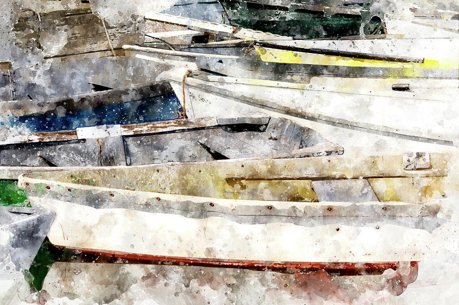 Dory Digital Art - Winterport Dories Wc by Peter J Sucy