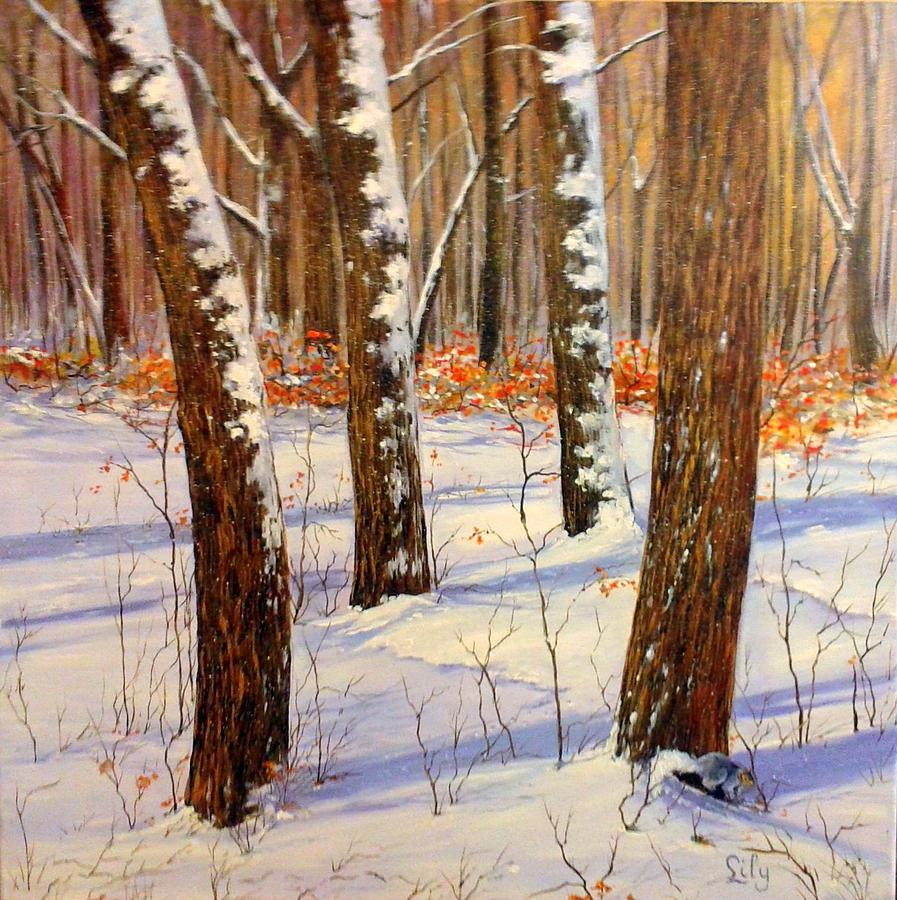 Winter Painting - Winters Blanket by Lily Adamczyk